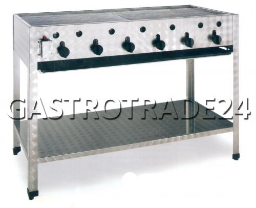 plancha gril gaz 6 zones sur pied inox d 39 occasion ebay. Black Bedroom Furniture Sets. Home Design Ideas
