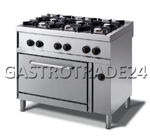 cuisini re gaz acier inox flammes pilotes four l ctrique chaleur tournante ebay. Black Bedroom Furniture Sets. Home Design Ideas